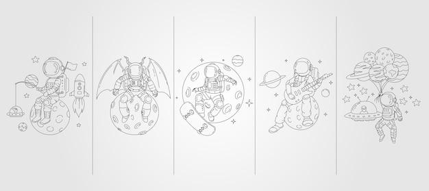 Set van astronaut lijntekeningen illustratie