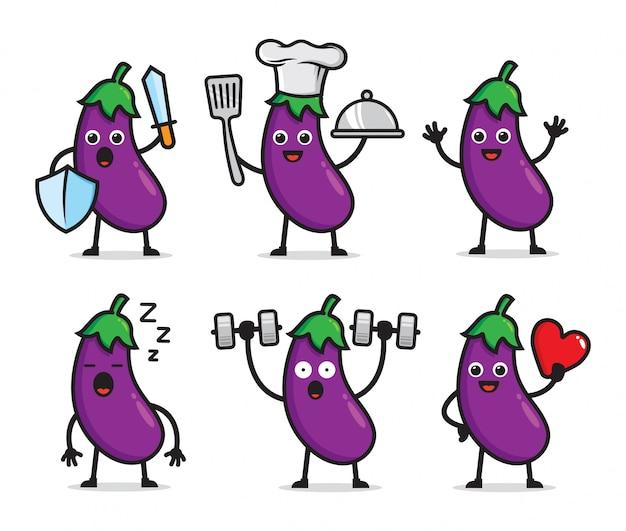 Set van aubergine characterdesign