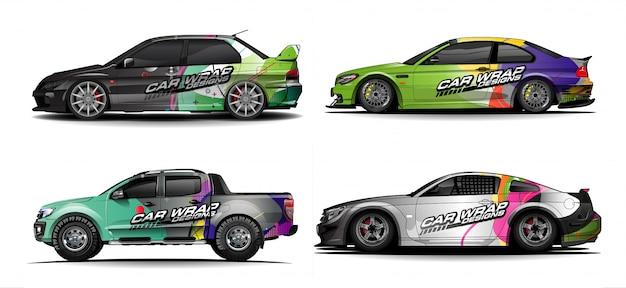 Set van auto grafische vector. abstract kleurrijk met gebogen vorm achtergrond voor voertuig vinyl wrap