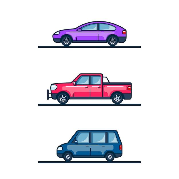 Set van auto iconen geïsoleerd op een witte achtergrond