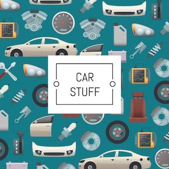 Set van auto-onderdelen achtergrond