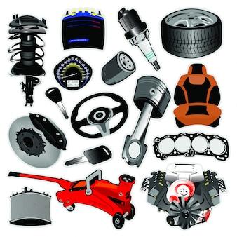 Set van auto-onderdelen