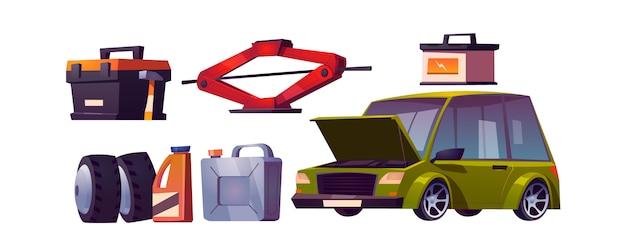 Set van auto reparatiewerkplaats, auto-onderhoud