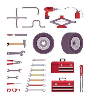 Set van auto toolls