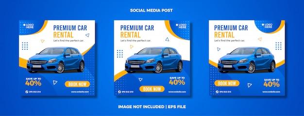 Set van autoverhuur sociale media post sjabloon.