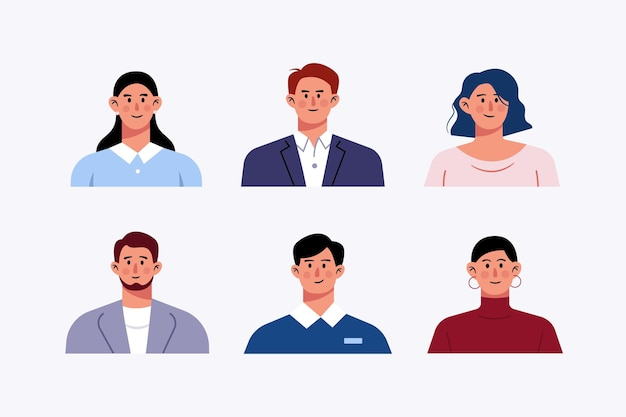 Set van avatar kantoorpersoneel zakenmensen karakter ontwerp illustratie
