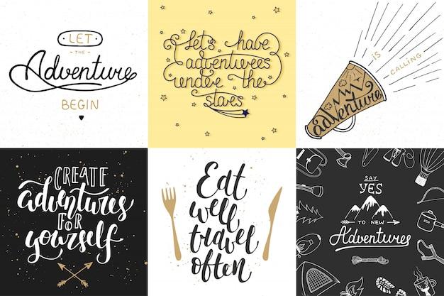 Set van avontuur en reizen typografie