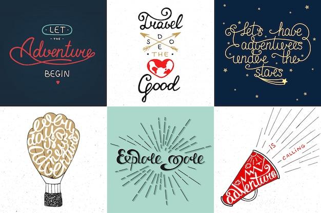 Set van avontuur en reizen vector typografie