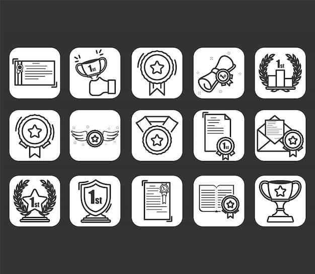 Set van awards iconen