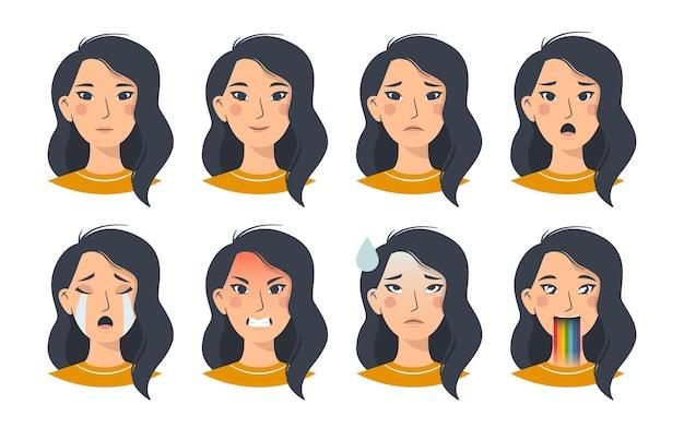 Set van aziatische vrouwelijke emoties, gezichtsuitdrukkingen