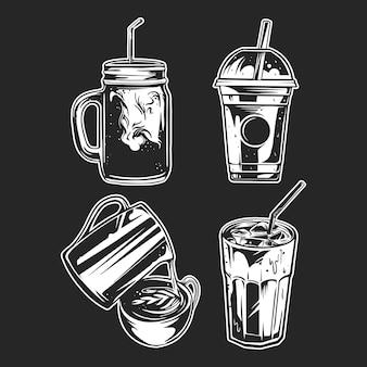 Set van b & w koffie ingesteld op zwarte achtergrond