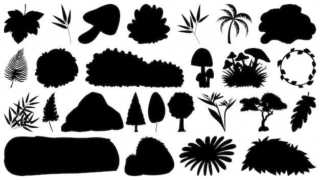Set van b & w sihouette geïsoleerde natuurlijke elementen
