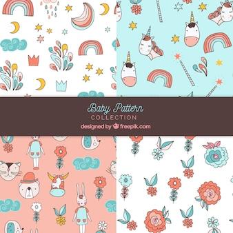 Set van baby patronen in de hand getrokken stijl
