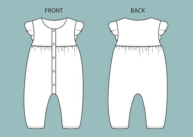 Set van baby romper voor- en achteraanzicht