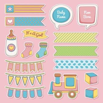 Set van babydouche plakboek