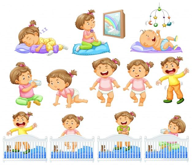 Set van babymeisje dat verschillende activiteiten doet