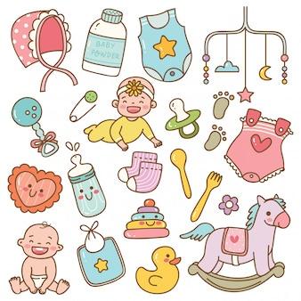 Set van babyspeelgoed en accessoires in kawaiistijl