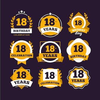 Set van badges voor de achttiende verjaardag