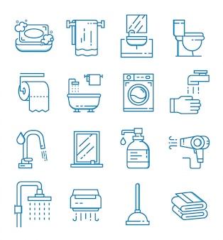 Set van badkamer pictogrammen met kaderstijl
