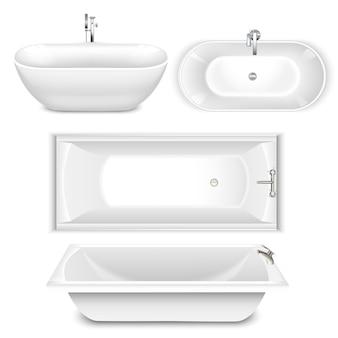 Set van badkuipen boven- en zijaanzicht