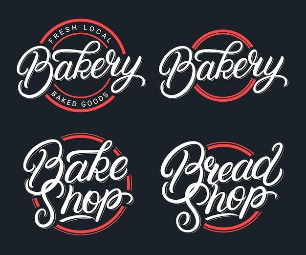 Set van bakkerij, bakwinkel en broodwinkel handgeschreven letters logo. moderne kalligrafie. vintage-stijl.