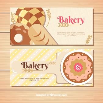 Set van bakkerij banners met snoep