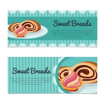 Set van bakkerij-banners