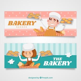 Set van bakkerij banners