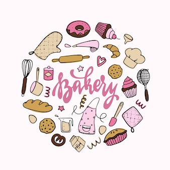Set van bakkerij en koken doodles