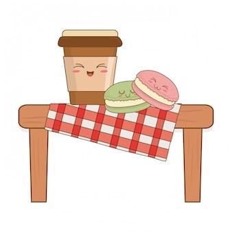 Set van bakkerij eten kawaii in picknicktafel