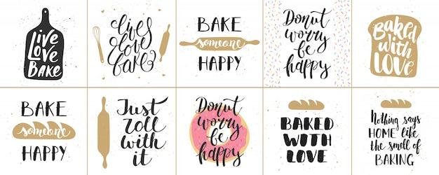 Set van bakkerij letters