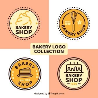 Set van bakkerij logo's in vlakke stijl