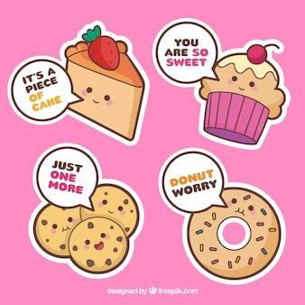 Set van bakkerij stickers met gebak en brood