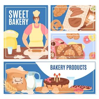 Set van bakkerijproduct banner