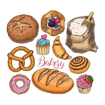 Set van bakkerijproducten geïsoleerd op wit