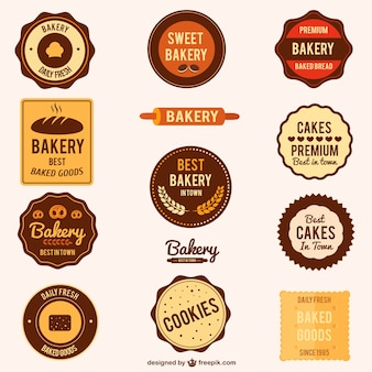 Set van bakkerijproducten vector postzegels