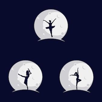 Set van ballerina dansen op de maan