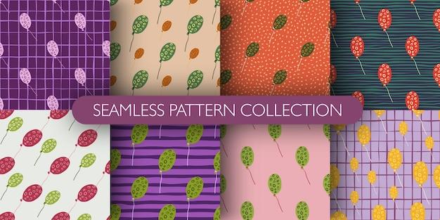 Set van ballonnen naadloze patroon. gestileerde vakantie print met ringen ornament achtergrond collectie. perfect voor behang, textiel, inpakpapier, stoffenprint. vector illustratie.
