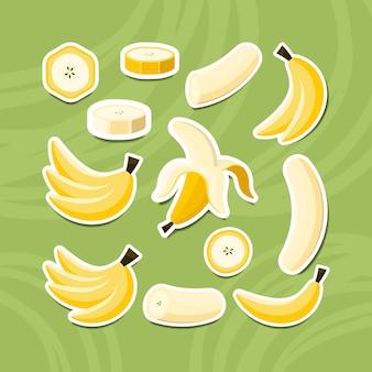 Set van banaan fruit sticker, heel, in tweeën gesneden, gesneden op stukjes banaan.