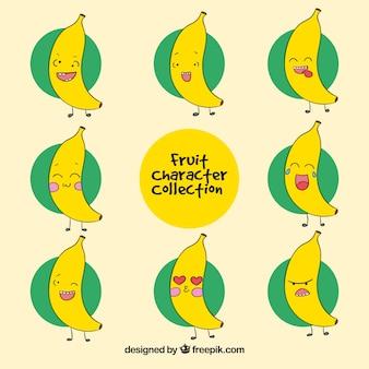 Set van banaan karakter met gezichtsuitdrukkingen