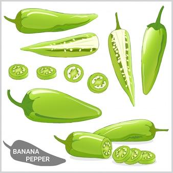 Set van banaan peper illustratie