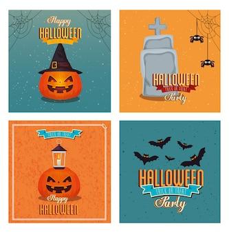 Set van banner happy halloween met decoratie