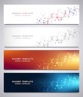 Set van banners en headers voor site met moleculen achtergrond en neuraal netwerk