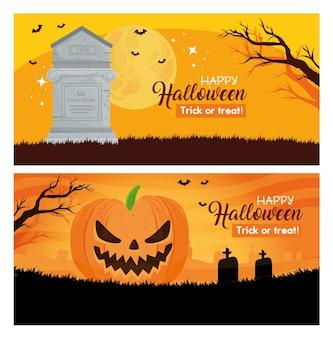 Set van banners happy halloween met decoratie