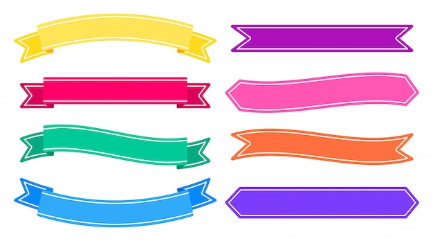 Set van banners kleurrijke linten