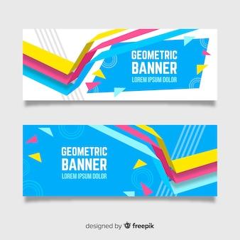 Set van banners met abstracte geometrische vormen