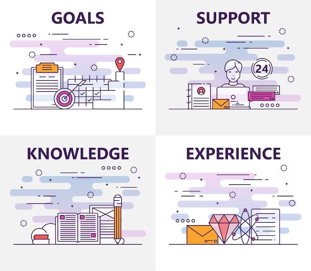 Set van banners met doelen, ondersteuning, kennis, ervaring conceptelementen. dunne lijn platte ontwerp symbolen en pictogrammen