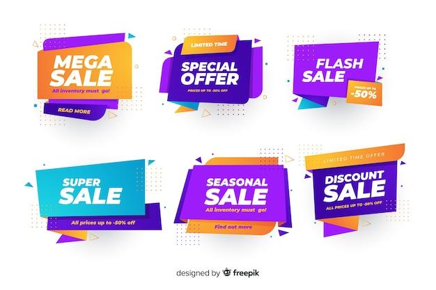 Set van banners met flash kortingen