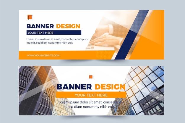 Set van banners met foto's