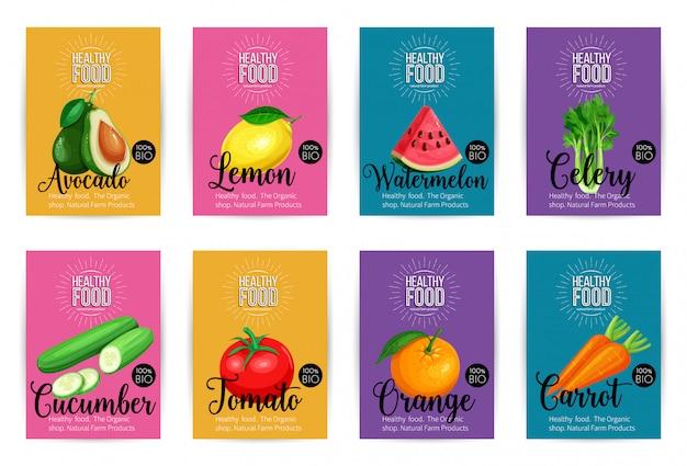 Set van banners met fruit